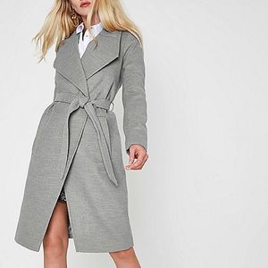 River Island Gray Belted Wrap Coat